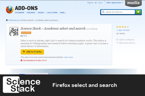 Science Stack Firefox select and search