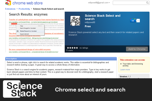 Science Stack Chrome select and search